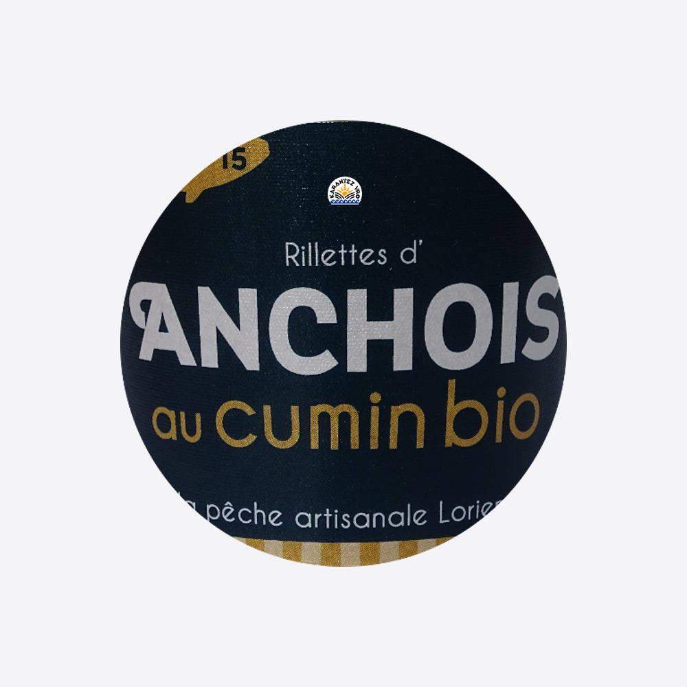 Rillettes d'anchois au cumin biologique réalisées à Lorient. Recette surprenante à base d'anchois issus d'une pêche sélective et responsable.